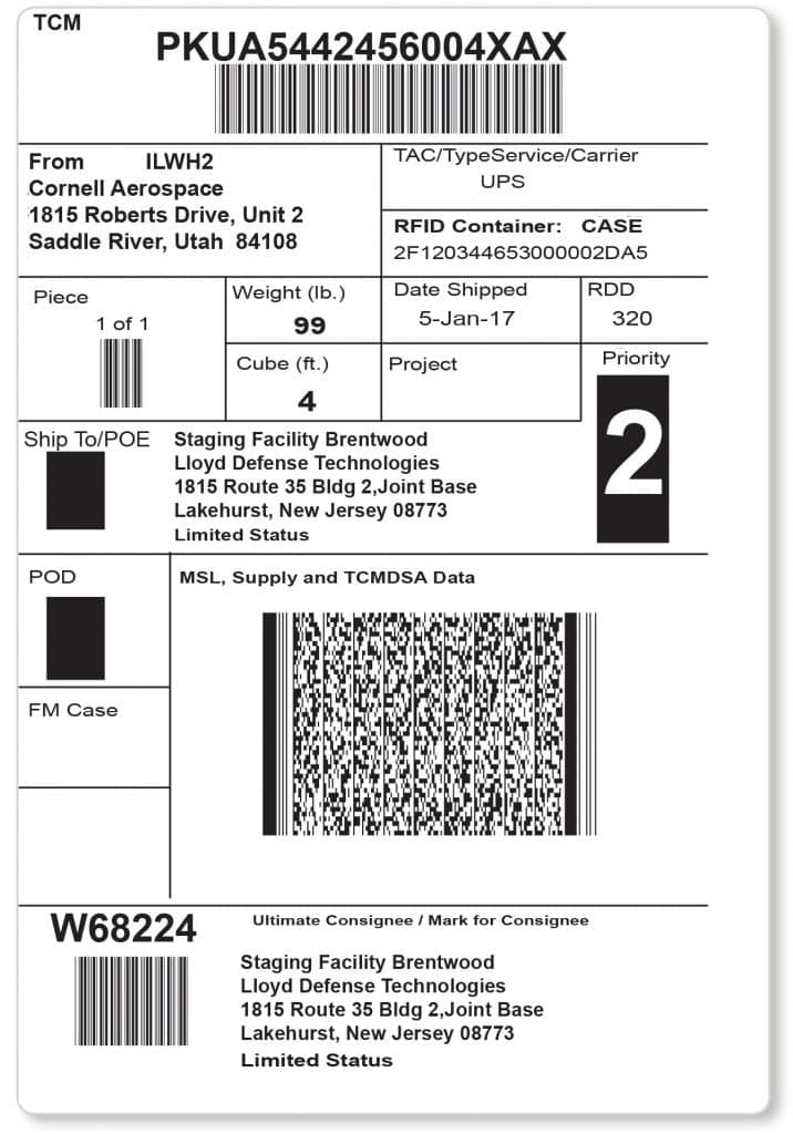 Military Shipping Labels - A2B Tracking Solutions