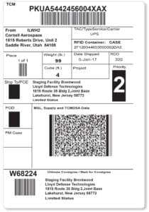 Military Shipping Label with RFID